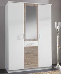 Click, 135 cm, biela/dub sonoma