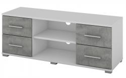 Oskar TV, biely/beton, šírka 120 cm